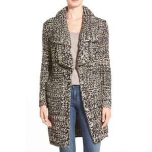 FATE black and cream long chunky knit cardigan